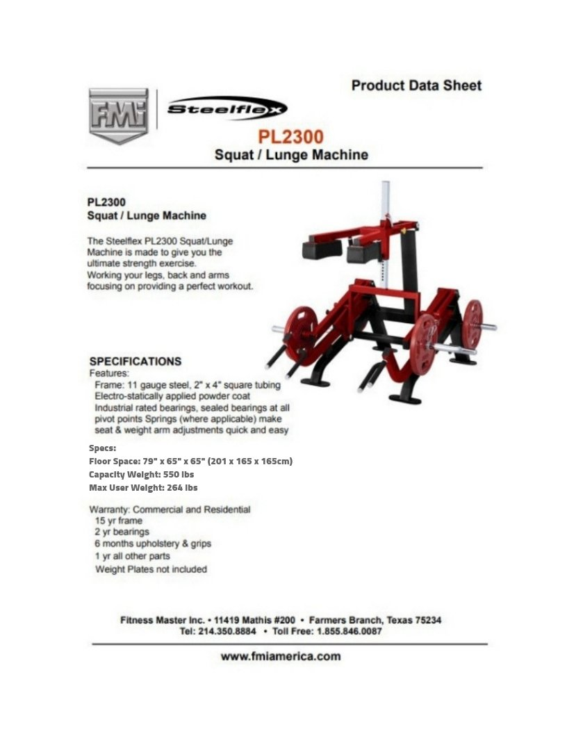 Steelflex PL2300 Squat/Lunge Machine | Fitness Equipment